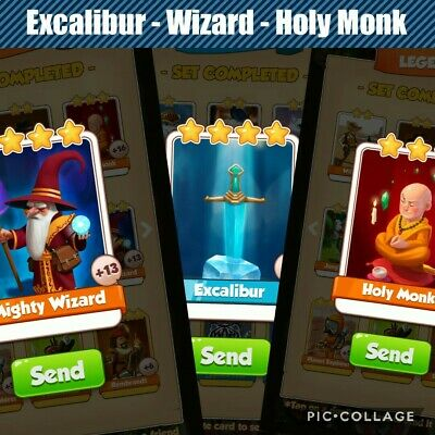 Coin Master Card Bundle - Excalibur, Mighty Wizard & Holy Monk - fast delivery