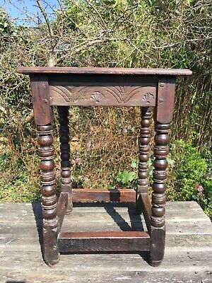 Late 17th/ Early 18th Century Joined Carved Oak Side Table Pegged Bobbin Turned