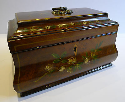 Antique English Tea Caddy - Floral Painted Mahogany c.1820