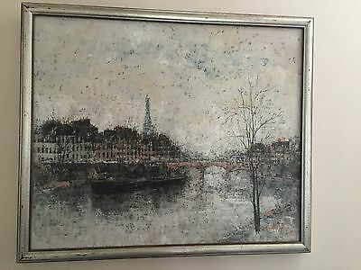 "L.K. Walles Paris Pont Louvre Oil Painting Original & Signed 1985 23"" x 20""!"