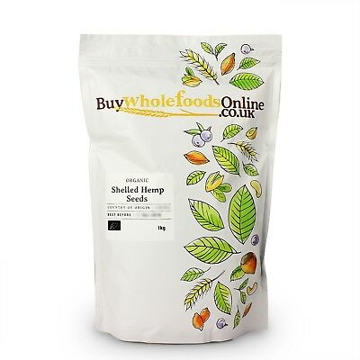 Organic Shelled Hemp Seeds 1kg | Buy Whole Foods Online | Free UK P&P