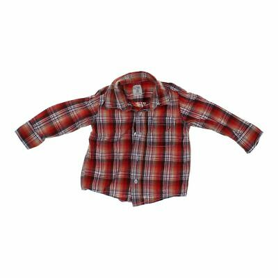 Old Navy Boys  Plaid Button-up Shirt, size 2/2T,  orange, red, brown, white