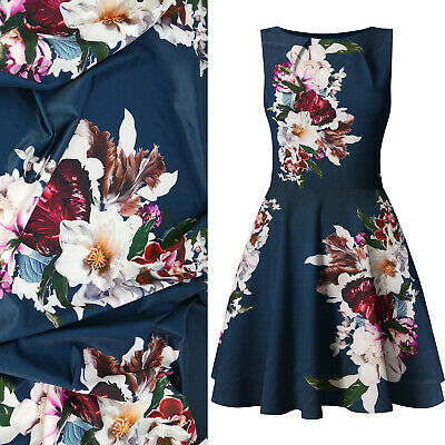 """Bold Navy Floral Design Fashion Dress Fabric Scuba Jersey Material, 60"""" Wide"""