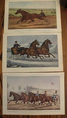Vintage Currier & Ives Prints Horse Racing Trotters on Snow Millers Damsel  Maud