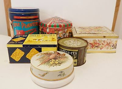 VINTAGE Tin Lot of 6 Miss Saylors  Planters M & Ms Cheese Chrispies Rileys