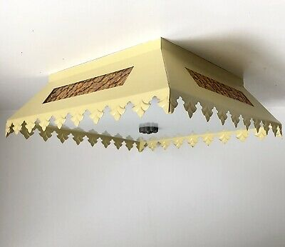 "Ceiling Light 15"" Yellow/Gold Metal Scalloped Vtg Mid Century 70s Pebble Glass"