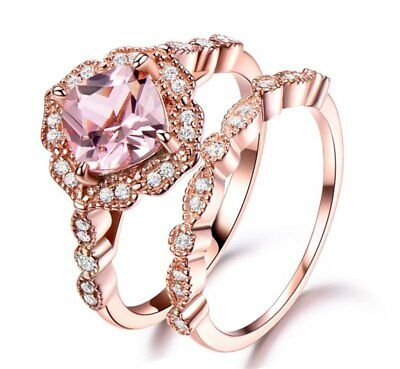 6e5b95e3fd 18K ROSE GOLD Plated Silver Ring Set with Fancy Pink Zirconia from ...