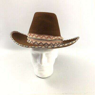 d6c25166fbf9c Bronco Southwestern Indian Cowboy Hat 100% Virgin Wool Misto Felt Size 7 1 8