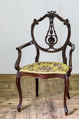 Antique 18th Century Georgian Rococo Carved Solid Mahogany Salon Chair