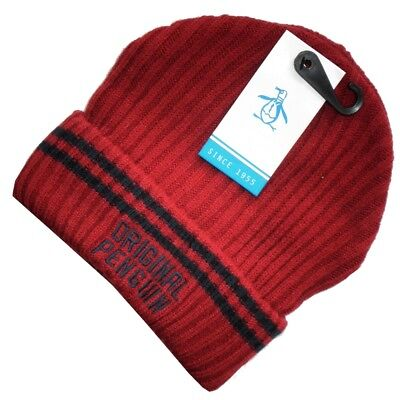 542a659ea ORIGINAL PENGUIN MENS Ribbed Knit Solid Winter Beanie Hat Red One ...