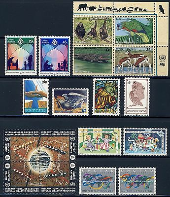 UN - NEW YORK . 1994 Year Set Stamps/Block (637-654) . Mint Never Hinged