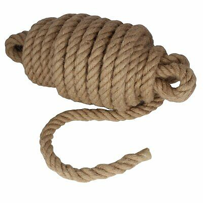 28mm Thick Natural Jute Hessian Rope Cord Braided Twisted Decking Boating Garden