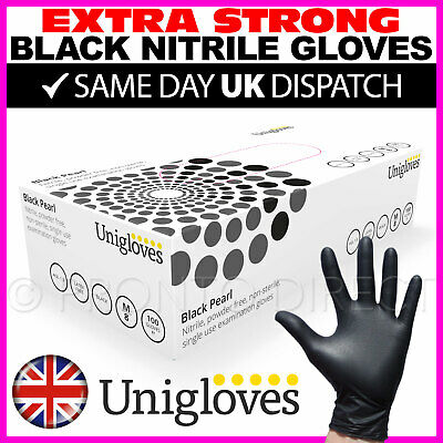 100 Black Nitrile Disposable Gloves Powder Latex Free Tattoo Mechanic Valeting