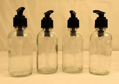 4oz Clear Glass Boston Round Pump Bottles 4-Pack, Black Pumps, Refillable - NEW