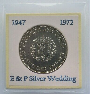 "1972 Great Britain ""Elizabeth & Phillip 25th Wedding Anniversary"" 25 Pence Coin"