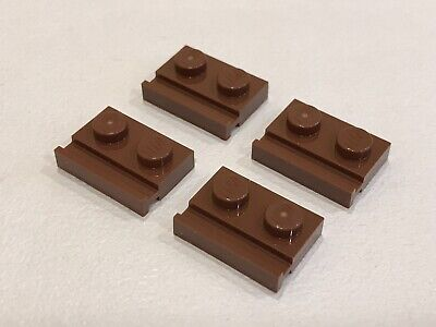 rouge, red Plate 1x2 Rail Slide NEUF NEW 4 x LEGO 32028 Plaque Rainure