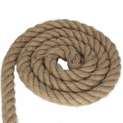 20mm Thick Natural Jute Hessian Rope Cord Braided Twisted Decking Boating Garden