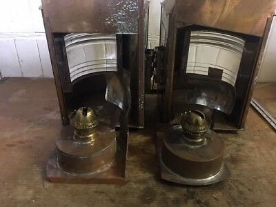 A Pair of Large Copper Ships Paraffin Lamps - 1 x  Port & 1 x Starboard
