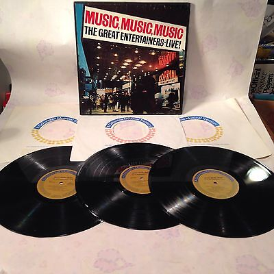 Vintage Music, Music, Music The Great Entertainers Live 3 Lp Record Set~Excellen