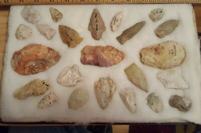 GROUP OF ARROWHEADS FROM Calhoun Co. ILLINOIS NATIVE AMERICAN INDIAN ARTIFACTS 2