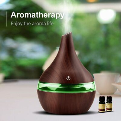 300ML USB Electric Aroma Air Diffuser Wood Ultrasonic Air Humidifier Essential