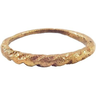 ANCIENT VIKING TWISTED RING C.850-1050 AD Gilt bronze. Size 8 3/4.
