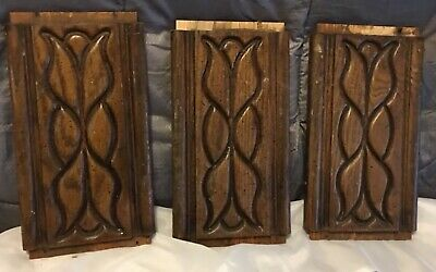 3 Vtg Solid Oak Wood Door Panel Architectural Salvage Pediment Ornate 11 3/8""