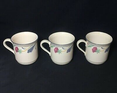 "Lenox Chinastone Poppies On Blue Mugs 3 3/4"" Set Of 3"