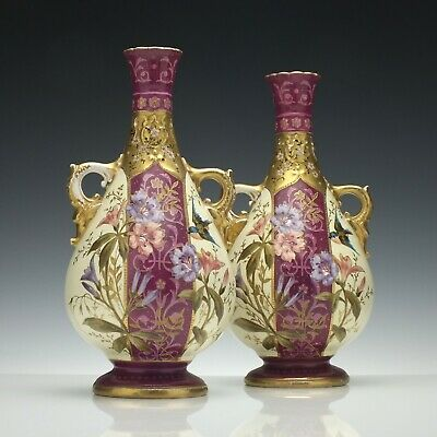 Pair of Antique 19th Century Royal Bonn Vases c1880