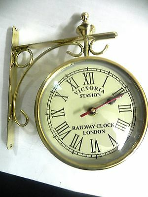 Victoria ~ Station ~ Railway Brass Clock London Double ~ Side ~ Clock 12 Inches