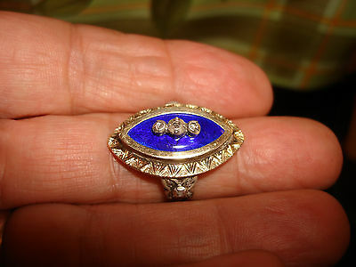 Art Deco Cobalt Blue Enamel 18Karat Yellow White Gold Diamond Ring Size 7