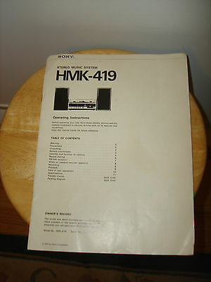 Vintage SONY Stereo Music System HMK - 419 Paper Operating Instructions 1977
