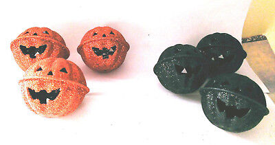 "3  2"" glittered orange black metal bells your choice halloween crafting"