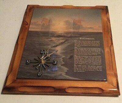 Lord's Prayer Religious Handcrafted Wooden Clock Selling As Is Wood Handmade