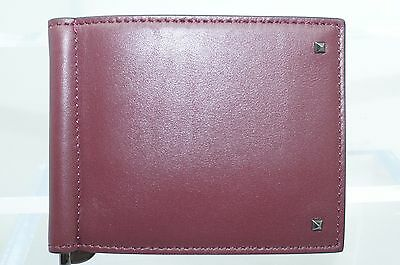 156450f8fab24 New Valentino Mens Wallet Credit Card Holder Brown Red ID Case Leather Sale  Gift