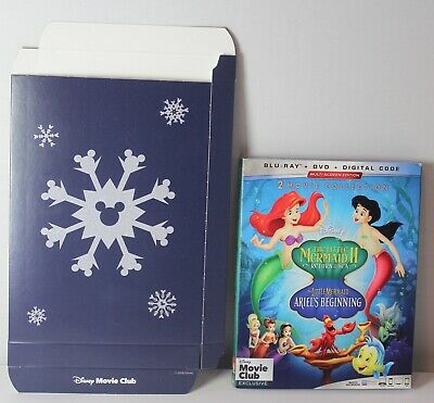 Little Mermaid 2 3 Disney Movie Club Exclusive Blu Ray DVD DIGITAL and Gift Box