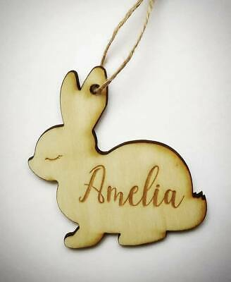 Personalised Wooden Easter Bunny With Name Kids Ornament Hanging Gift Tag Decor