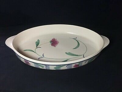 Lenox Chinastone Poppies On Blue Botanical Oval Baker Casserole 16 1/2""