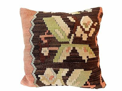 "Old Tribal Turkish Kilim Pillow  16"" by 16"""
