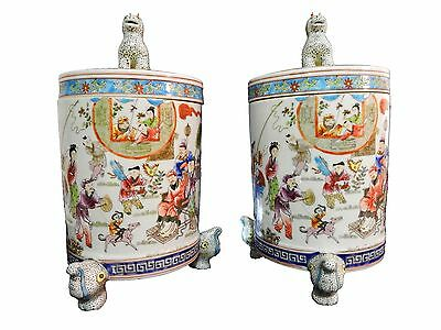 """Chinese Porcelain Famille Rose lidded Tea Canisters Jars,  13.5"""" H"""