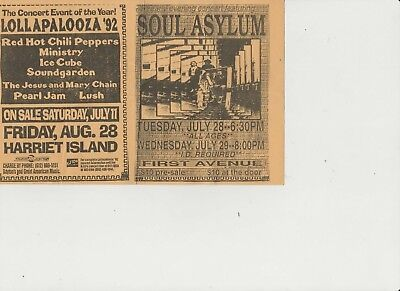 Soundgarden Red Hot Chili Peppers Pearl Jam Stray Cats Minstry Concert Handbill