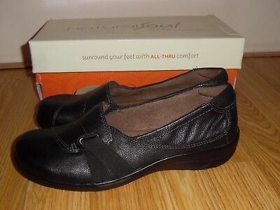 48cd3fc38ce NEW Natural Soul Comfort Black Ilena slip on shoes loafers leather Size 6.5  M