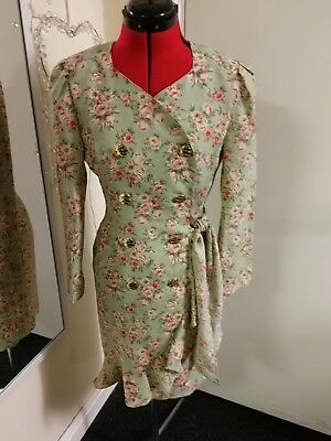 1980s Does 1940s 1950s Style Wiggle Dress - Green Floral - Size 6 Rockabilly