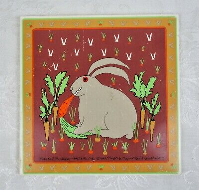 Vintage 1982 Win Ng Rascal Rabbit Wall Tile Art Trivet Signed