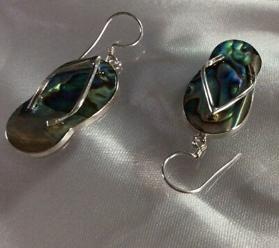 14776682f1f3 FLIP FLOP EARRINGS Abalone Shell Sterling Silver Handcrafted ...