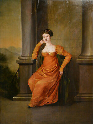 Antique 19th century German Master of Bavarian Court : Portrait of Noble Lady
