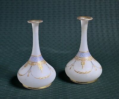 Pair Ca 1910 Antique Russian Milk Frosted Glass & Gold Small Flower Vases