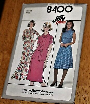 Simplicity Pattern #8400 MISSES DRESS & UNLINED JACKET - Knits - Size 16 Uncut