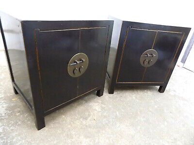 pair,two,chinese,black,ebonised,cabinets,side tables,bedside,end,tables,oriental