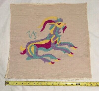 Completed Ram Needlepoint Canvas Pillow / Picture - ESTATE FIND